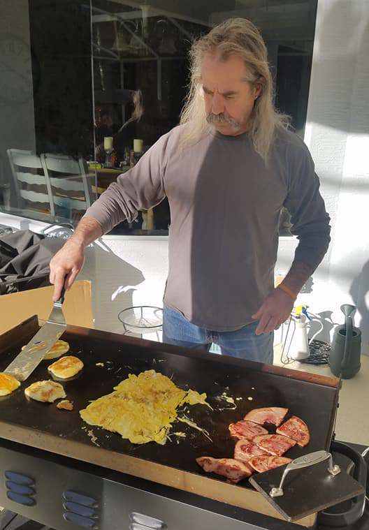 Hibachi grill, breakfast on the grill, potato pancakes